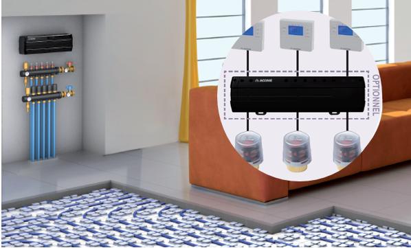 Thermacome, 1er système de planchers chauffants-rafraîchissants hydrauliques basse température – visuel régulation filaire