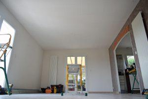 pose des rails du plafoind chauffant en rénovation